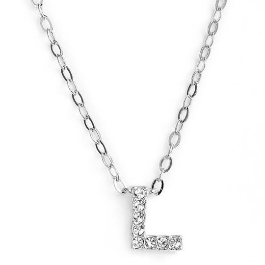 Silver finish chain necklace with L shaped pendent made with CZ stones.