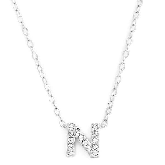 Silver finish chain necklace with N shaped pendent made with CZ stones.