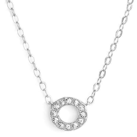 Silver finish chain necklace with O shaped pendent made with CZ stones.