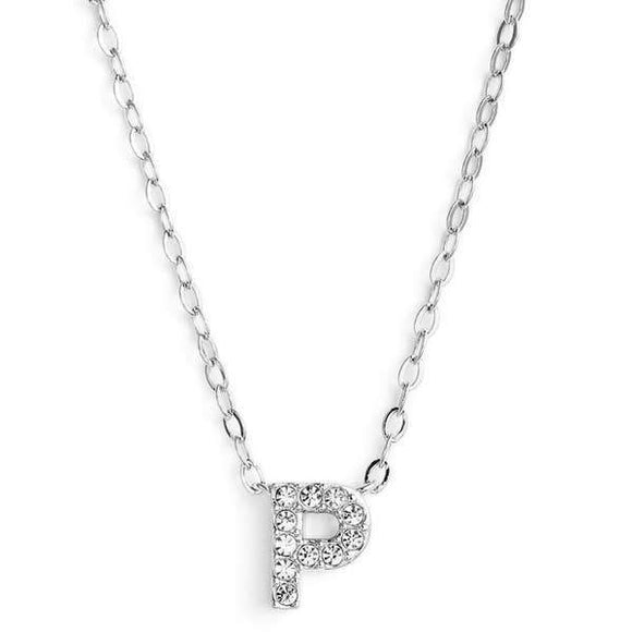 Silver finish chain necklace with P shaped pendent made with CZ stones.