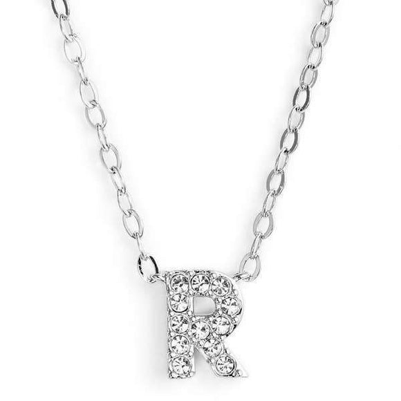 Silver finish chain necklace with R shaped pendent made with CZ stones.