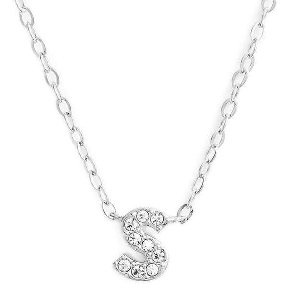 Silver finish chain necklace with S shaped pendent made with CZ stones.