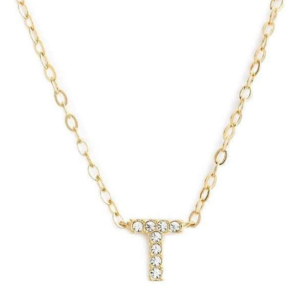 Gold finish chain necklace with T shaped pendent made with CZ stones.