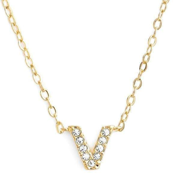 Gold finish chain necklace with V shaped pendent made with CZ stones.