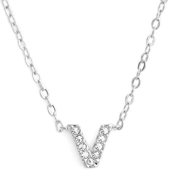 Silver finish chain necklace with V shaped pendent made with CZ stones.