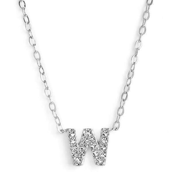 Silver finish chain necklace with W shaped pendent made with CZ stones.