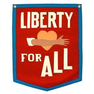 "A red camp flag pennant with white text ""LIBERTY FOR ALL"" and an illustration of an arm across an orange heart."