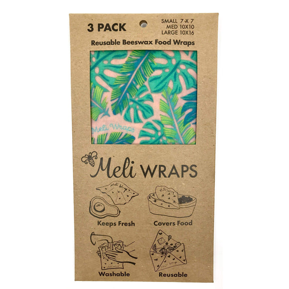 Reusable food wraps with tropical leaves design.