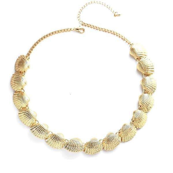 Gold plated clam shells necklace .
