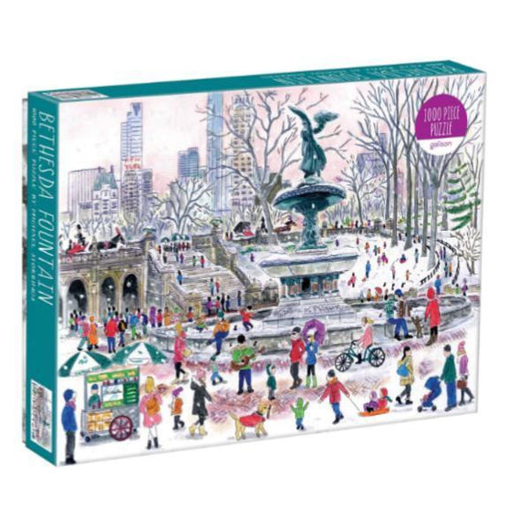 A box of puzzle with image of a city center and of people ice skating and biking.
