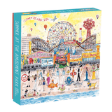 A box of puzzle with an illustration of an amusement park in the summer time.