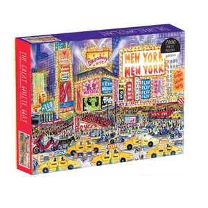 A box of puzzles with an illustration of the great white way at night.