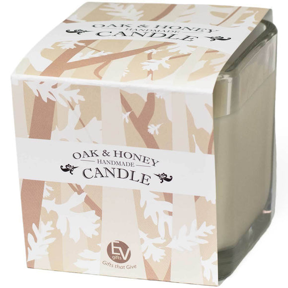 10 ounce oak and honey soy candle.