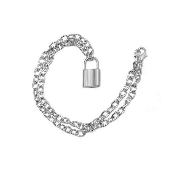 A silver stainless steel chain necklace with a padlock shaped pendant.
