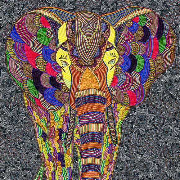Dot art canvas print of a colorful elephant in patterned grey background.
