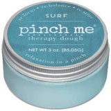 "A light blue jar of ""SURF"" therapy dough."