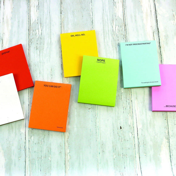 Note pads in colors: white, red, orange, yellow, lime green, sky blue, and baby pink