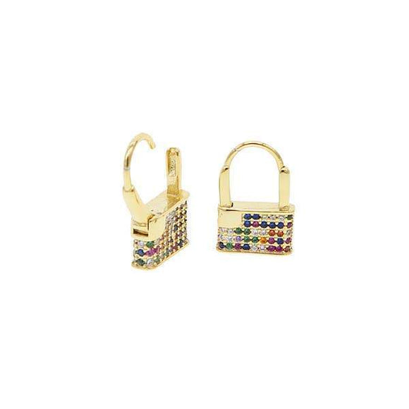 A pair of golden sterling steel earrings in shape of padlocks adorned with colorful CZ stones.