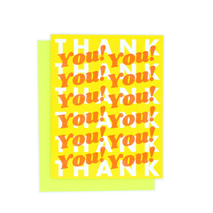 "A yellow card with retro style white and orange text that repeats : ""HAPPY BIRTHDAY!"" Comes with a lime yellow envelope."