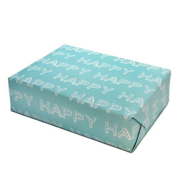 A present wrapped in light blue wrapping paper with white texts: