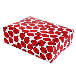 A present wrapped in ladybug illustration wrapping paper.