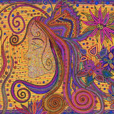 Dot art canvas print of a colorful Wahine in mustard background.