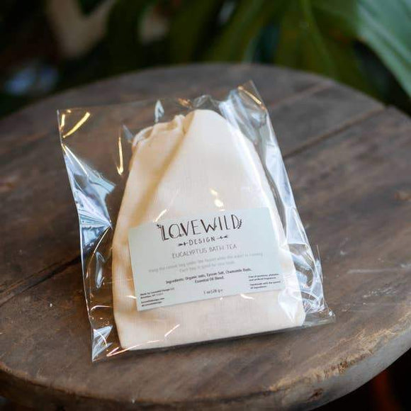 A beige colored  bag of eucalyptus bath tea