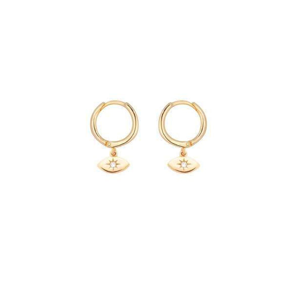 A pair of golden sterling steel mini hoop earrings with start bust evil eye hanging down the hoop.