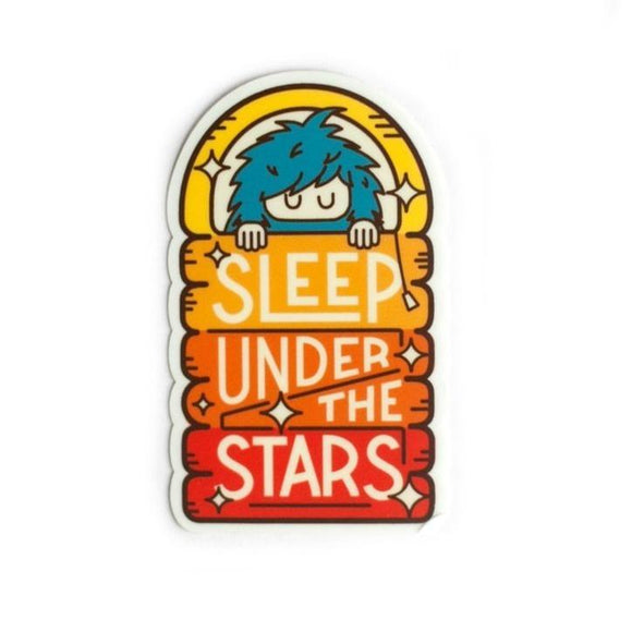 An arc shaped sticker of a blue Bigfoot sleeping under a rainbow colored sheets with text: