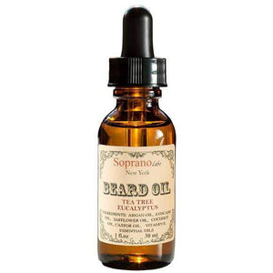 An amber glass of tea tree eucalyptus  beard oil.