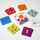Polka dot number cards for different games to learn math.