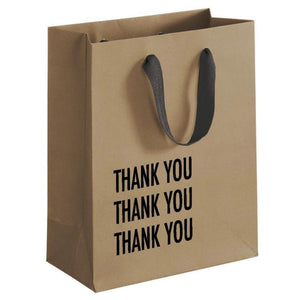 "A brown gift bag with a black text: ""THANK YOU THANK YOU THANK YOU."""