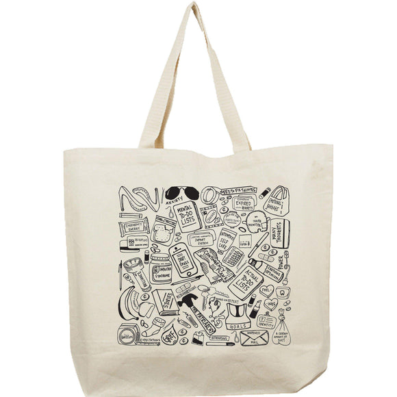A white canvas tote bag with black cartoonish illustrations.