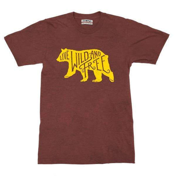 A maroon t-shirt with an illustration of yellow bear and a maroon text inside it: