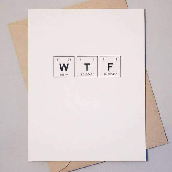 A white card with a black text: