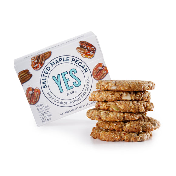 A stack of the yes bar salted maple pecan cookies.