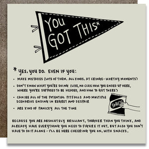 "A white square card with an illustration of a triangle pennant that says ""YOU GOT THIS."""