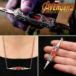 Avengers Infinity Way Red Stone 3D Knife Switchblade Necklace - Thanos and Gamora Pendant