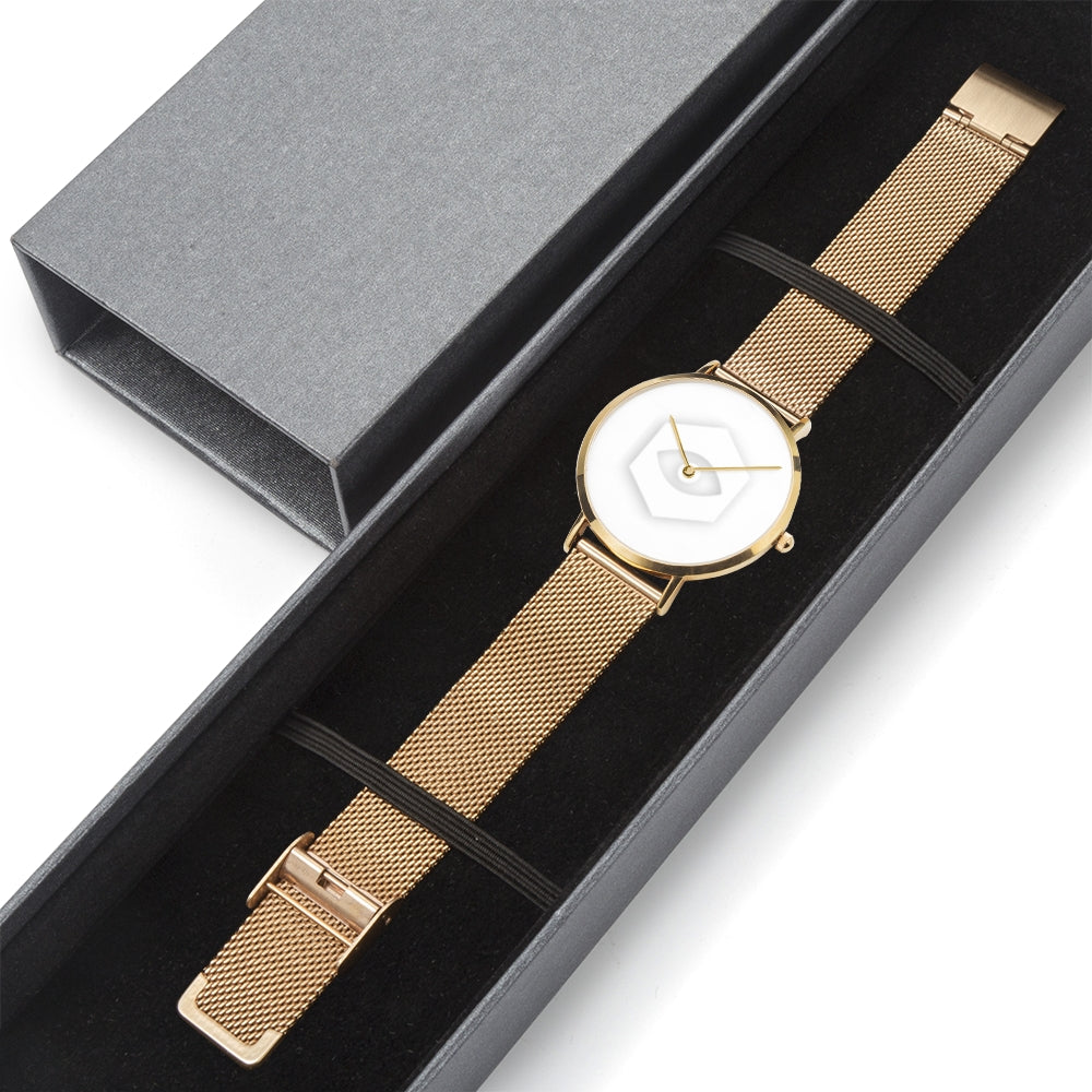 Gold Steel Strap Water-Resistant Quartz Watch - Insomnia Eye