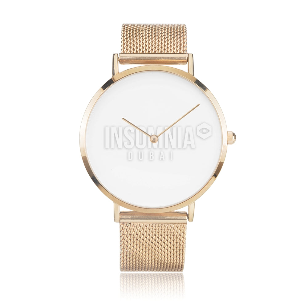 Gold Steel Strap Water-Resistant Quartz Watch - White Insomnia Logo