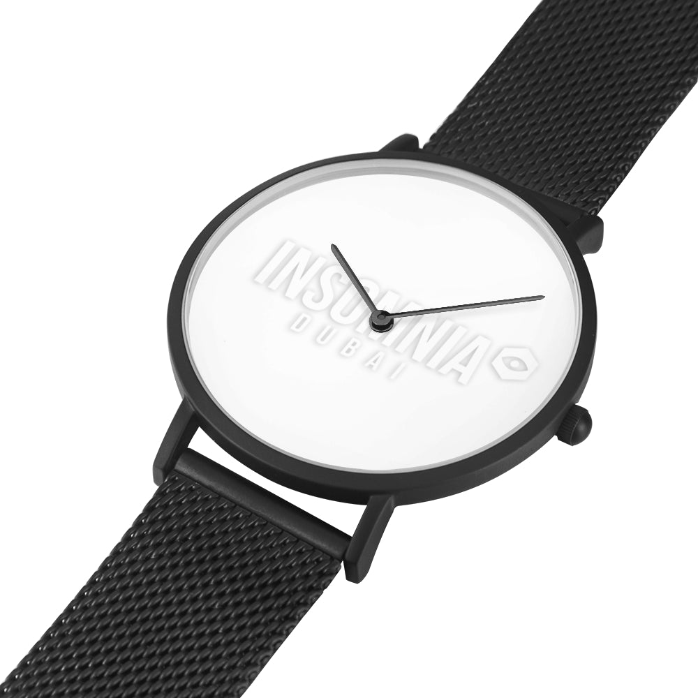 Black Steel Strap Water-Resistant Quartz Watch - White Insomnia Logo