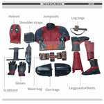 Newest Deadpool 2 Deadpool Cosplay Costume Wade Wilson Costume Red Deadpool PU Leather Cosplay Jumpsuit