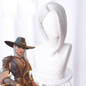 Overwatch Ashe Cosplay Wig 30cm Short Straight Heat Resistant Synthetic Hair OW Game Wig Silver-white Costume Party Wig