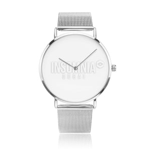 Silver Steel Strap Water-Resistant Quartz Watch - White Insomnia Logo