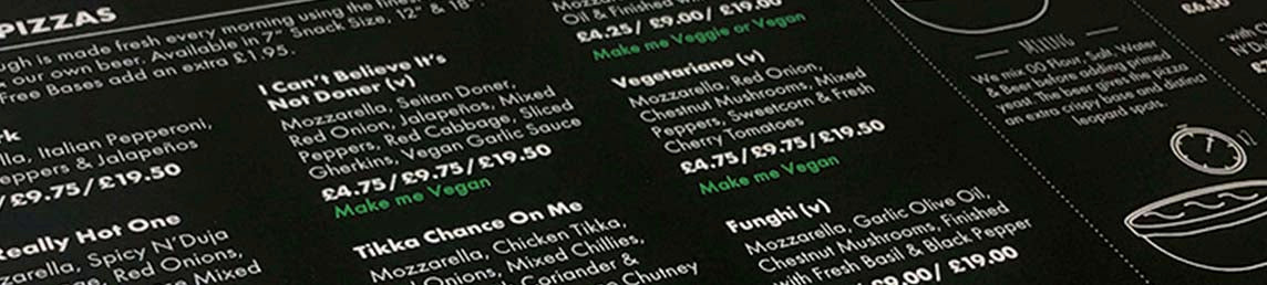 Well engineered menu for a brewery featuring pizzas
