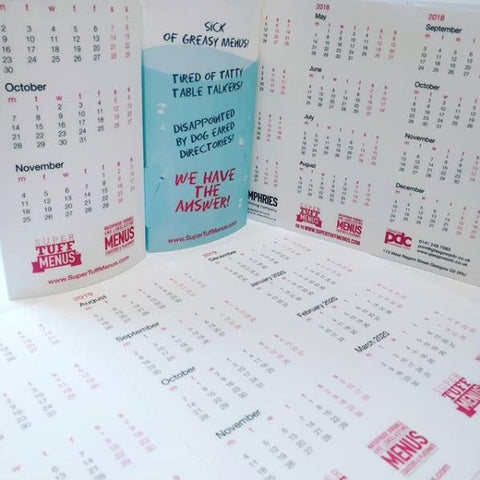Three sided table talker calendars