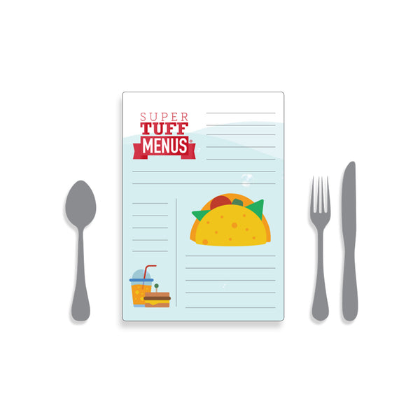 A portrait A4 drawing of our washable SuperTuffMenus along side drawings of cutlery to give the size impression