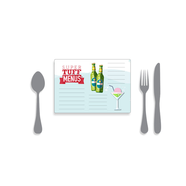 Illustration of landscape A5 Super Tuff Menu with cutlery to give scale