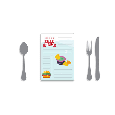 Illustration of portrait A5 Super Tuff Menu with cutlery to give scale