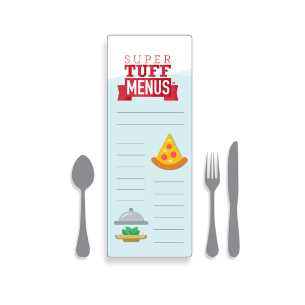 A drawing of our Long thin,  long lasting and washable SuperTuffMenus along side drawings of cutlery to give the size impression